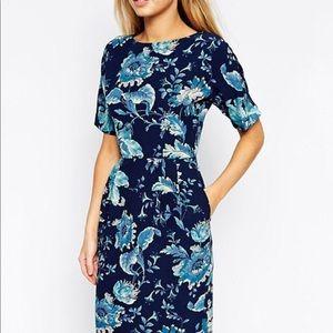 ASOS wiggle midi dress in blue paisley print
